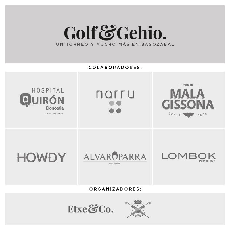 colaboradores torneo de golf Golf&Gehio organizado por etxe&Co