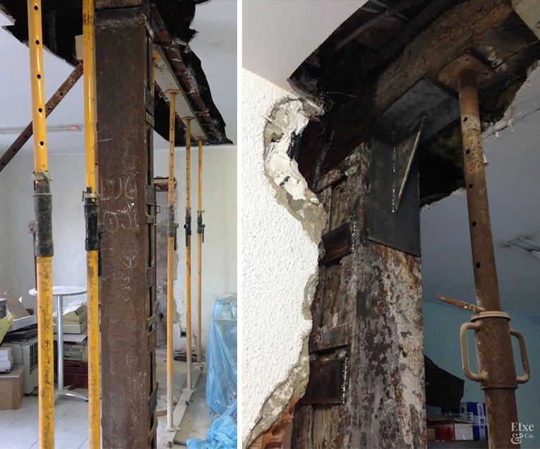 refuerzo rehabilitación estructural en el edificio