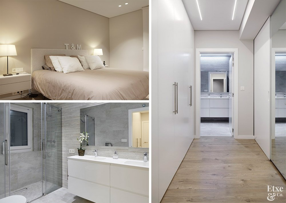 dormitorio principal con vestidor y cuarto de baño incorporado