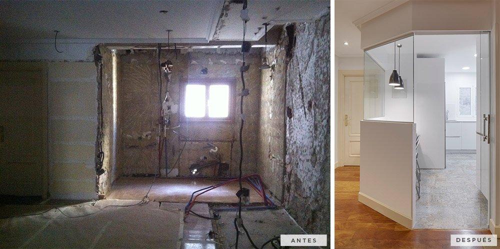 antes y después de la reforma de la cocina