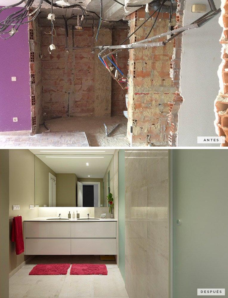 antes y después del cuarto de baño