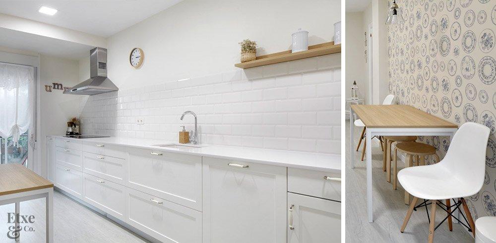 cocina con diferentes texturas en las paredes
