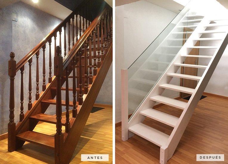Antes y después de la rehabilitación de la escalera.