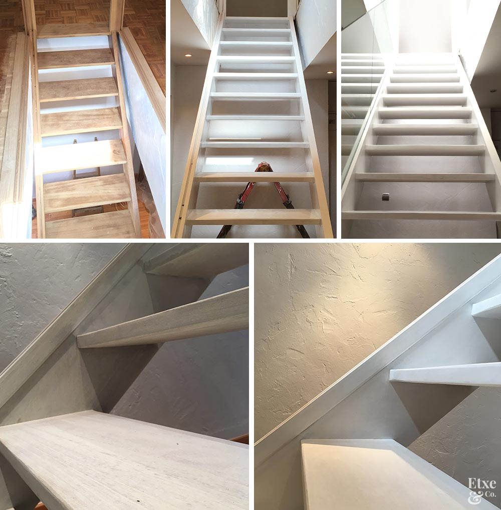 detalle del cepillado y pintado de la escalera