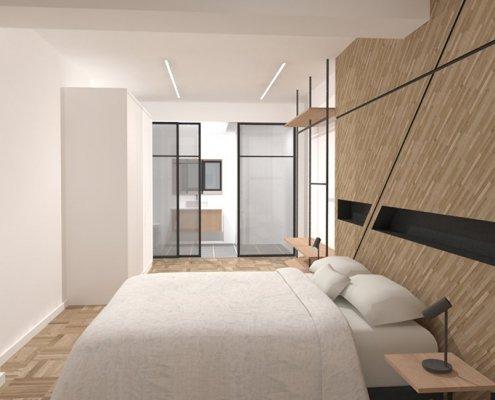 dormitorio principal con baño incorporado y cristalera