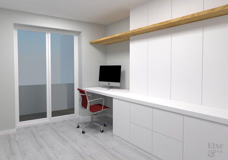 detalle del dormitorio armario y escritorio