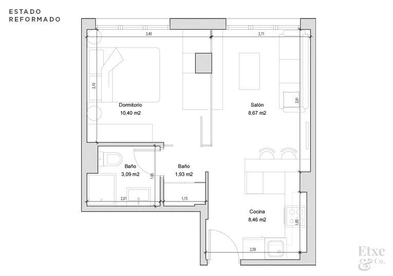 vivienda de 30m2 en san sebastian planos estado reformado