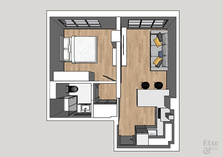 vivienda de 30m2 en san sebastian planos estado actual
