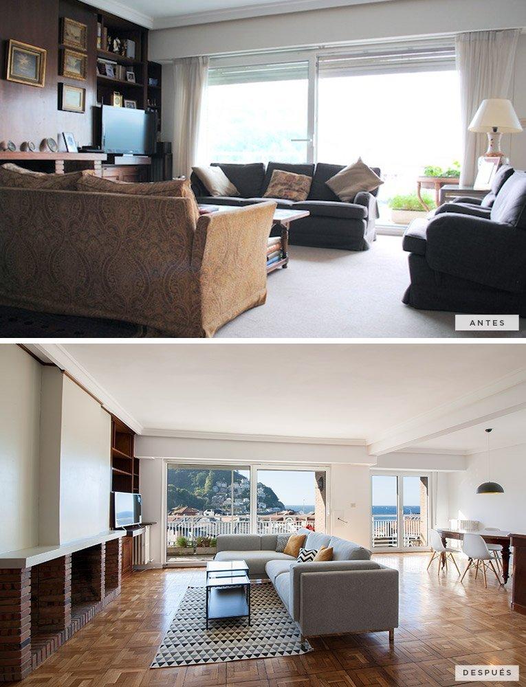antes y después de una sala de estar comedor con vistas al mar