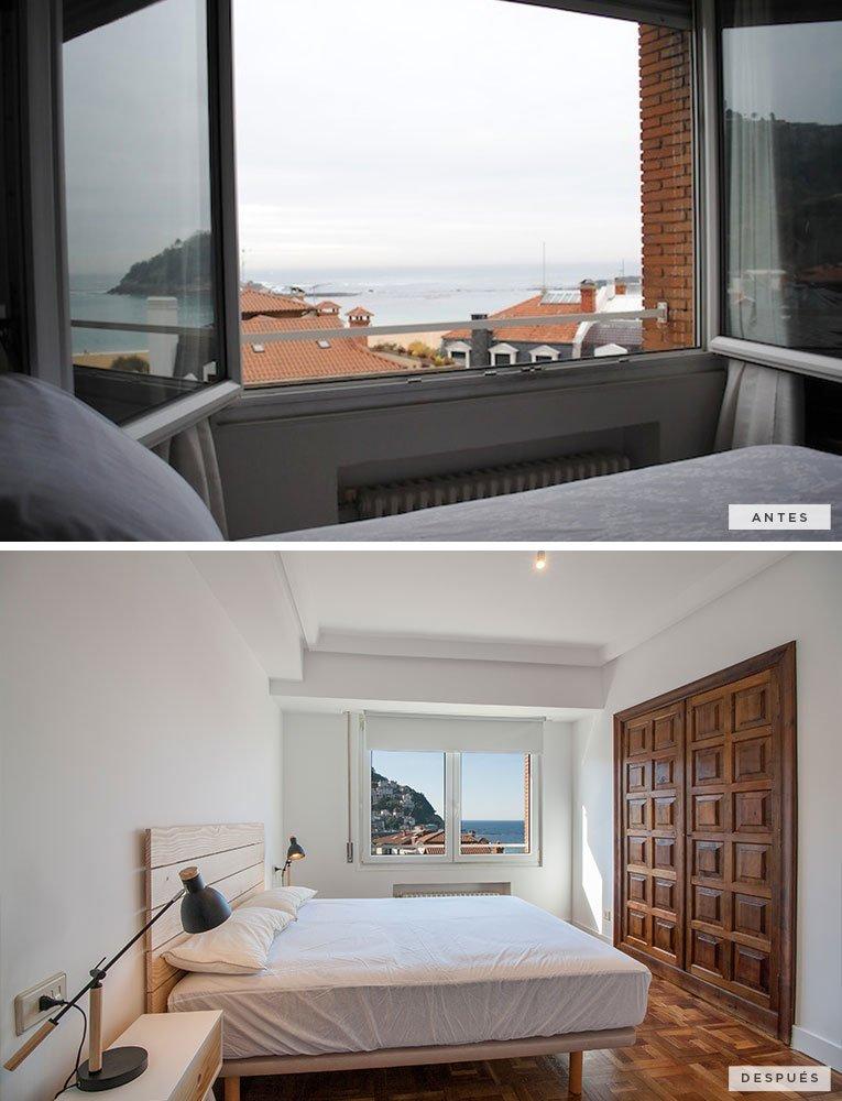 antes y después de una habitación dormitorio principal