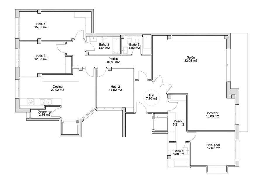 plano de vivienda con vistas a la bahia de la concha