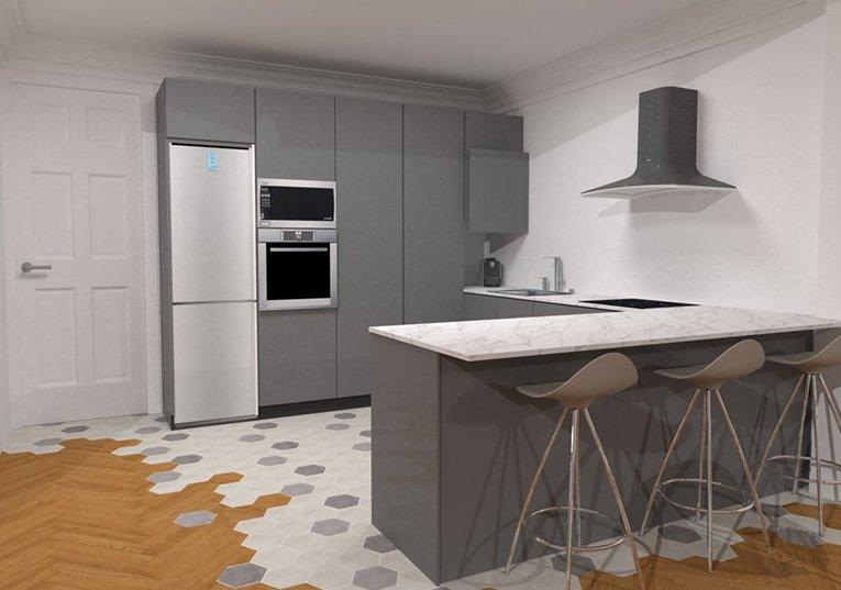 propuesta de cocina en la reforma de la vivienda de la calle prim