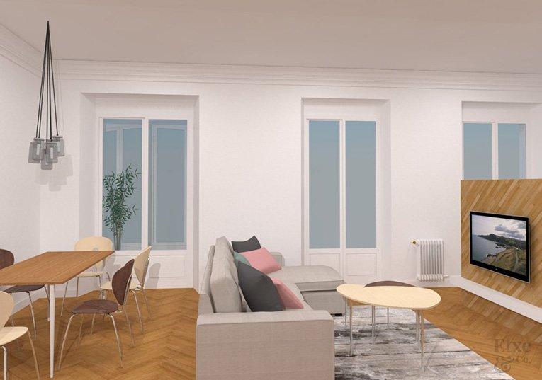 propuesta de la zona del salón en la reforma de la vivienda de la calle prim