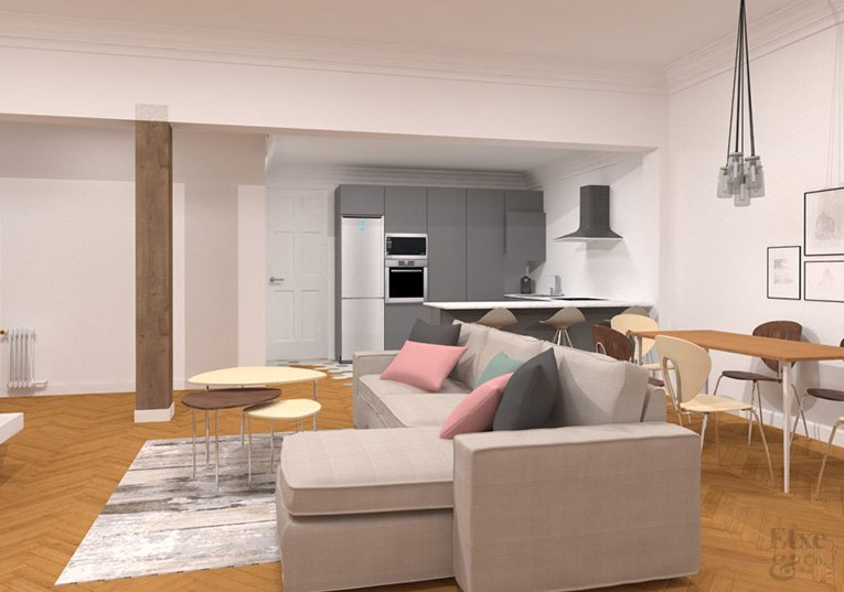 propuesta de sala de estar en la reforma de la vivienda de la calle prim