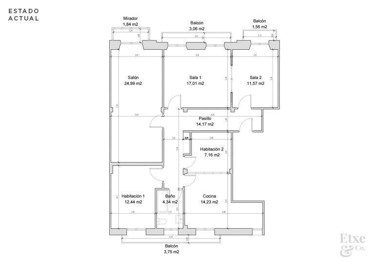 plano del estado actual vivienda calle prim antes de reformar