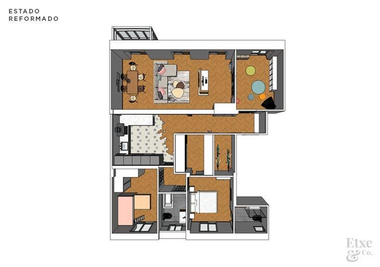 plano en 3d del estado actual vivienda calle prim después de reformar