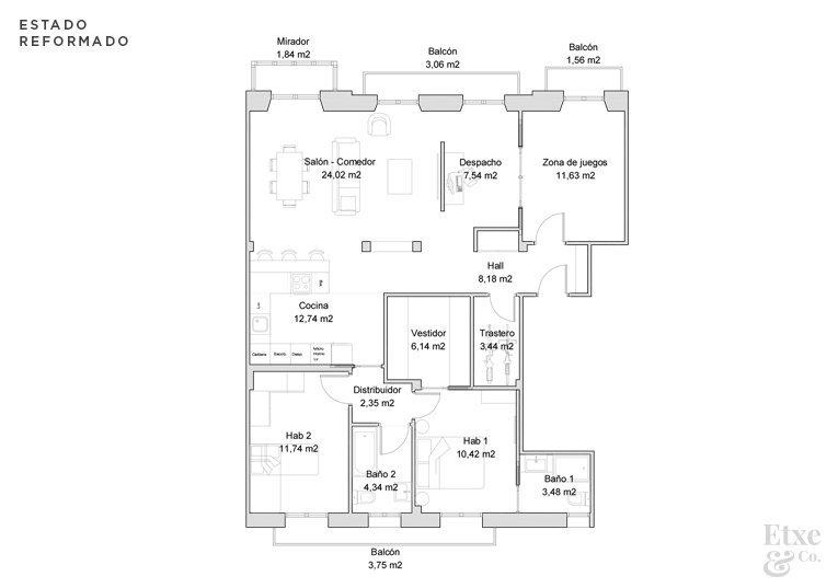 plano del estado actual vivienda calle prim después de reformar