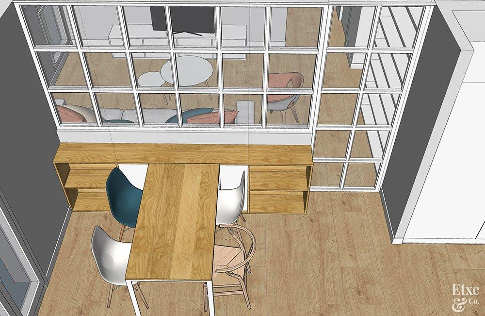cristalera de madera para separar cocina y salón