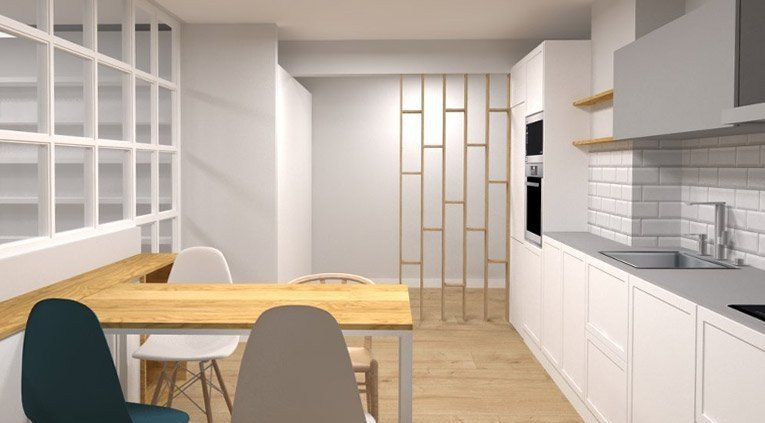 separación entre cocina y hall