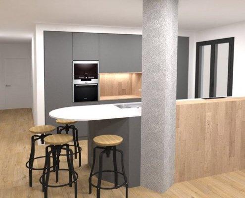 reforma vivienda barrio gros estado reformado sala de estar con cocina