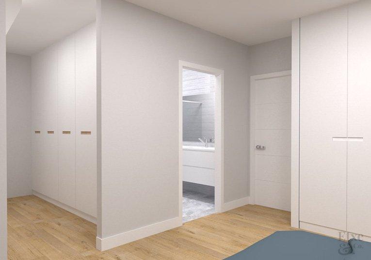 habitación principal con vestidor y cuarto de baño reforma vivienda barrio gros estado reformado