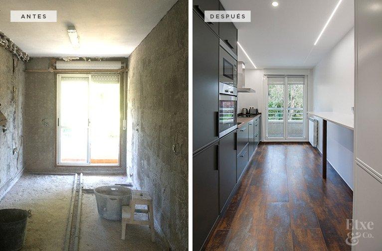 antes y después de la reforma de la cocina con acero corten