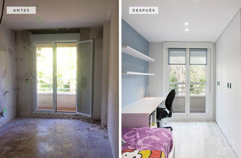 antes y después de una habitación