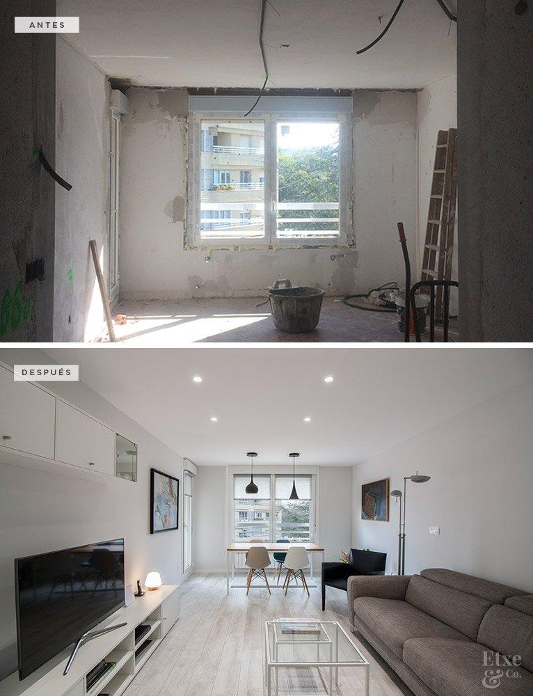 antes y después de la reforma de la sala de estar de la vivienda de donostia