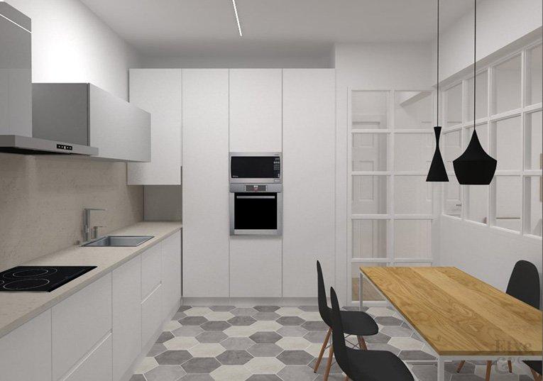 render de la propuesta de la cocina reforma en la vivienda de la parte vieja