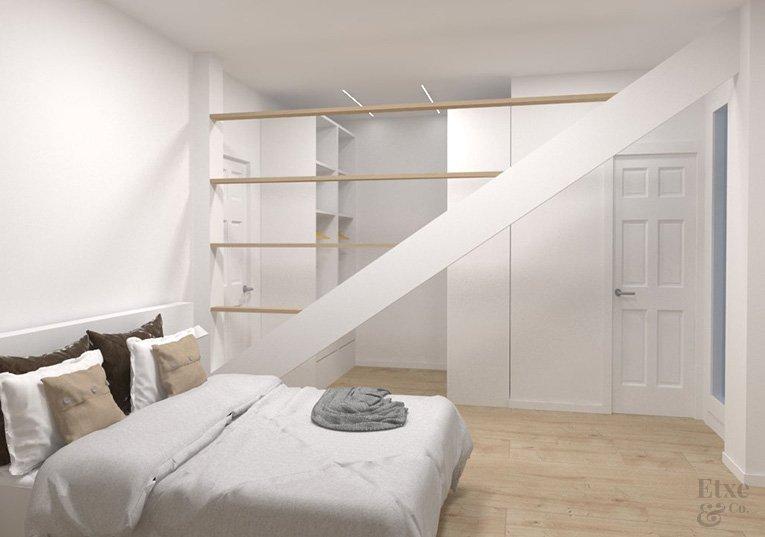 dormitorio render de la propuesta de la reforma en la vivienda de la parte vieja