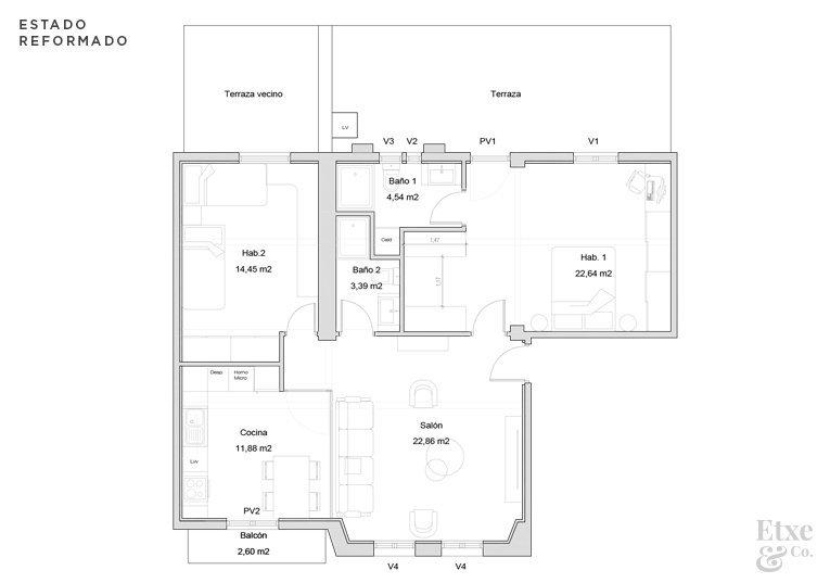 plano estado reformado de la vivienda calle san juan