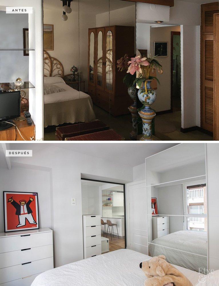 Reforma integral del dormitorio principal. Muebles y materiales, colores, perfiles de ventanas, etc., son voluntariamente de gama clara, con el objetivo de mantener esta sensación amplia, espaciosa y luminosa en toda la casa