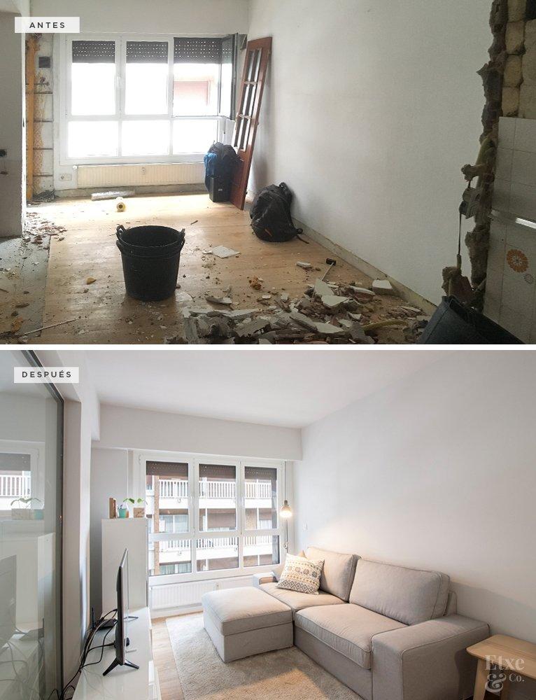 Reforma integral de la vivienda. Piso de 30 m2 convertido en un apartamento que parece mucho más grande, amplio y luminoso.