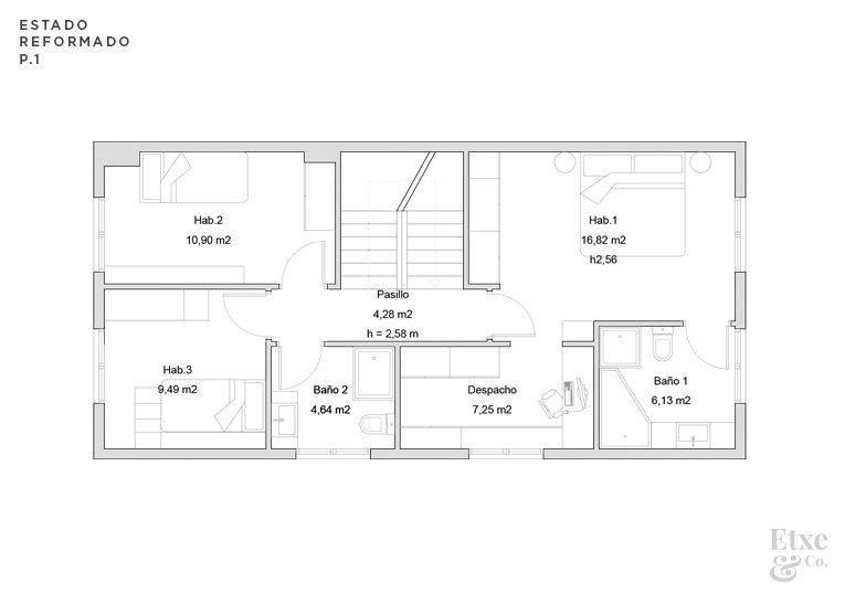 estado reformado de la reforma parcial del primer piso de la vivienda landberri del barrio san patricio en san sebastian