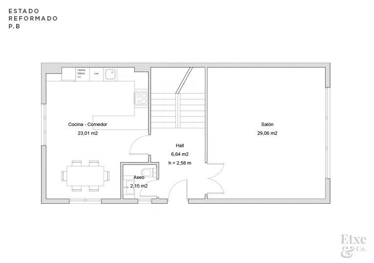 estado reformado de la reforma parcial del segundo piso de la vivienda landberri del barrio san patricio en san sebastian