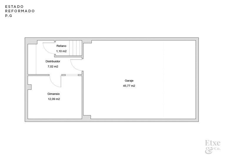estado reformado de la reforma parcial del garaje de la vivienda landberri del barrio san patricio en san sebastian