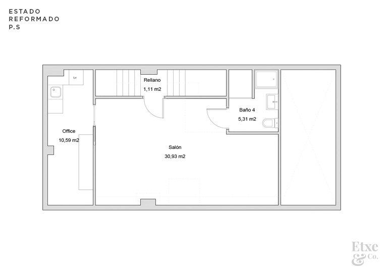 estado reformado de la reforma parcial del sótano de la vivienda landberri del barrio san patricio en san sebastian