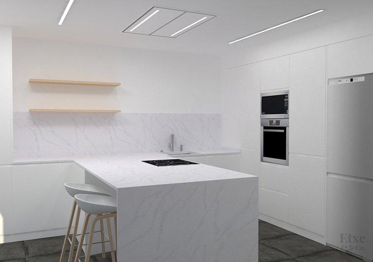 proyecto de la reforma integral de la cocina de la vivienda Landaberri del barrio de Aiete en San Sebastián.