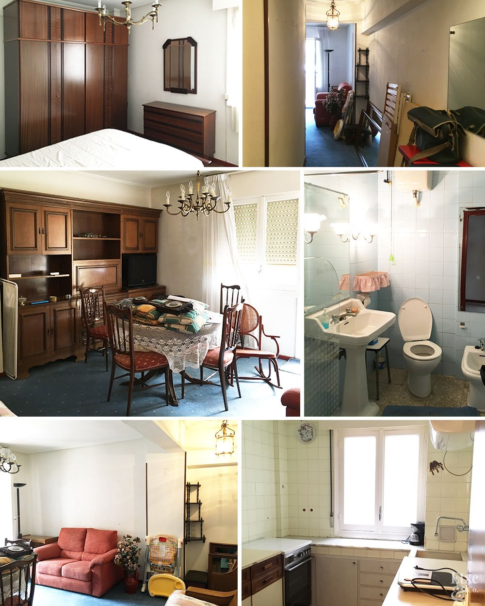 Collage de fotos del estado actual de la casa en Moncada, Bilbao.