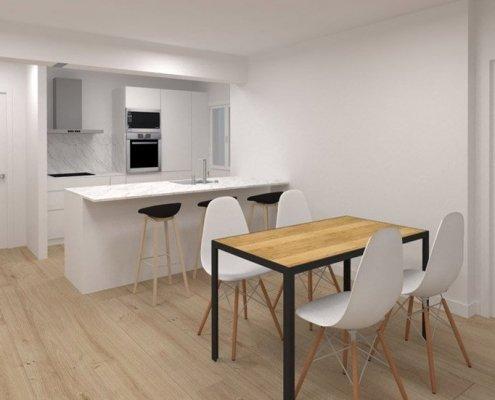 Plano render de la reforma integral de la cocina-comedor de la vivienda en la calle Moncada, Bilbao.