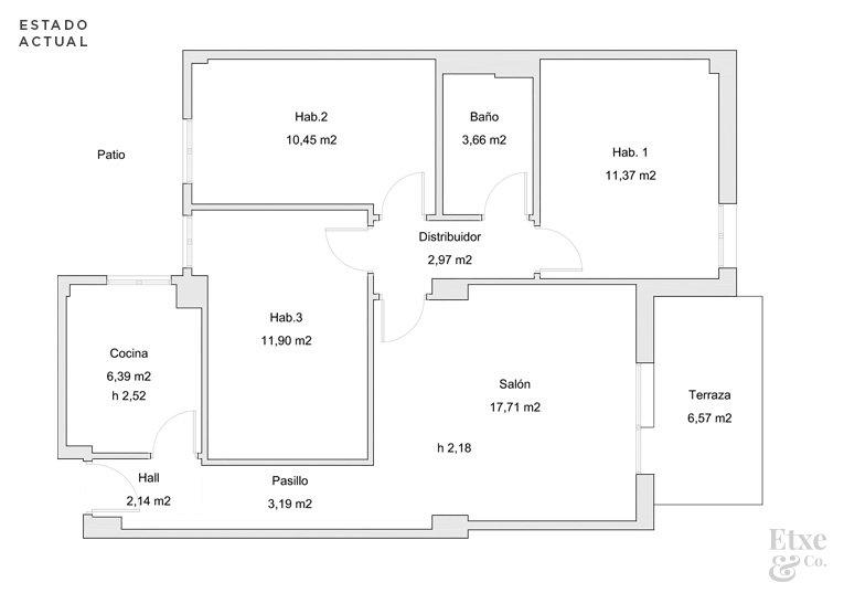 Plano del estado actual de la vivienda en la calle Moncada, Bilbao.