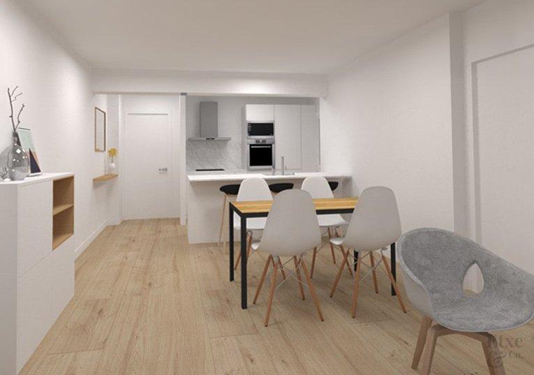 Plano render de la reforma del salón-comedor de la vivienda en la calle Moncada, Bilbao.