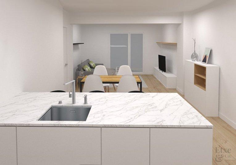 Plano render de la reforma de la cocina y el comedor de la vivienda en la calle Moncada, Bilbao.