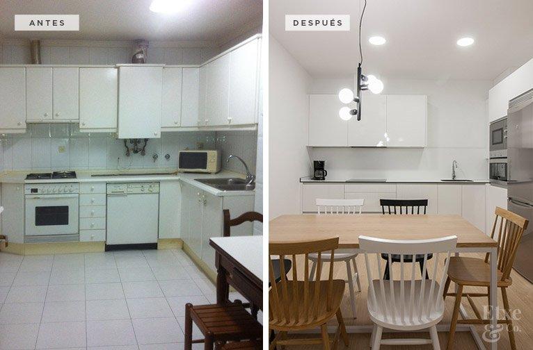 Antes y después de la reforma de la cocina en la vivienda de la calle San Martin 58 en San Sebastian.