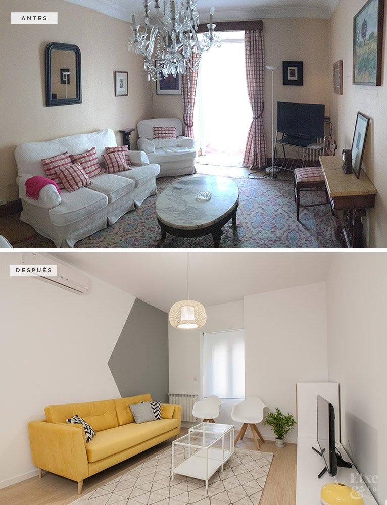 Antes y después de la reforma del salón en la vivienda de la calle San Martin 58 en San Sebastian.