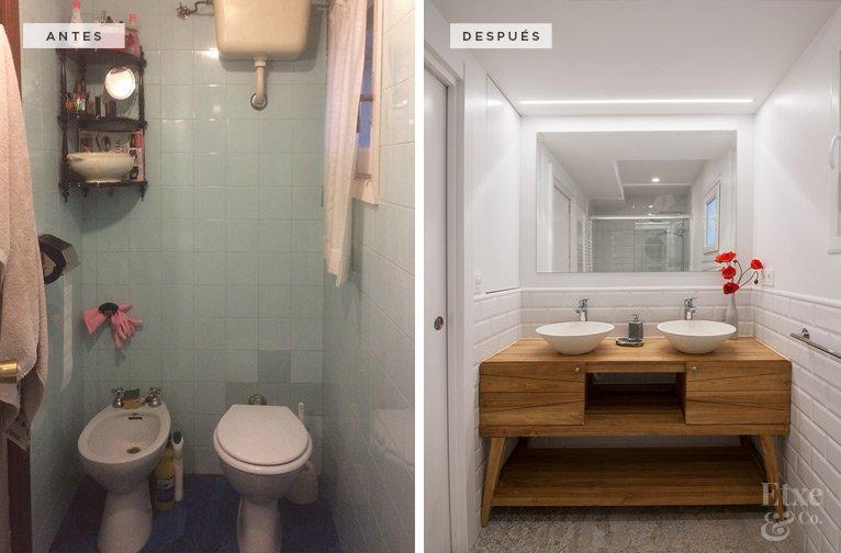 Antes y después de Etxe&Co. Cambio en el baño de la vivienda de Egia, en San Sebastián.