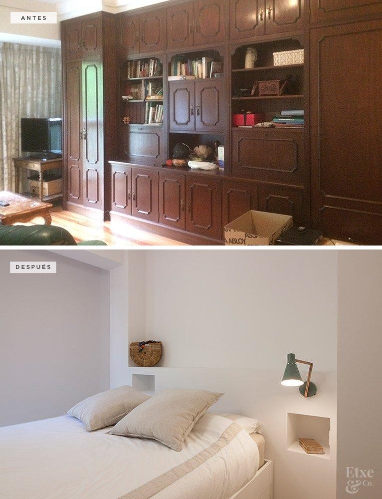 Antes y después de Etxe&Co. Cambio de cabecero en el dormitorio principal de la vivienda de Egia, en San Sebastián.