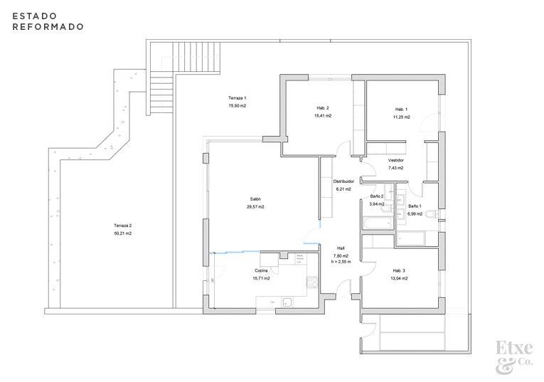 Plano estado reformado de la vivienda de Bera Bera 16, San Sebastián.