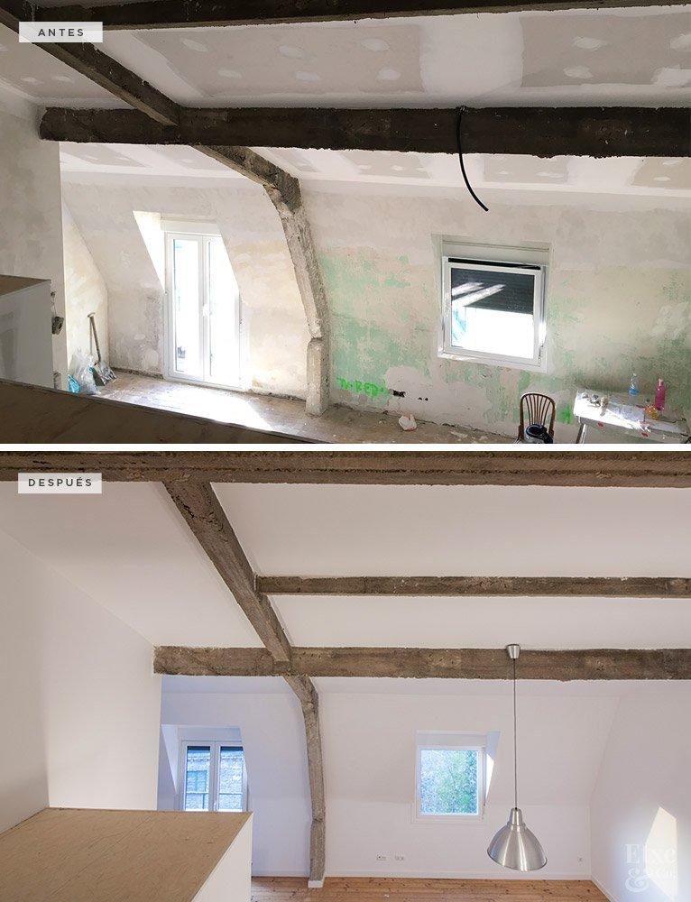 Antes y después de la reforma del techo en la vivienda de Ulia, San Sebastián.