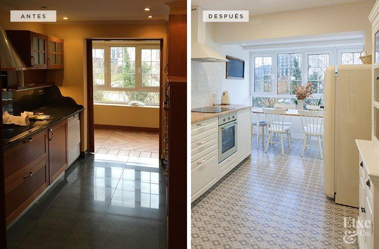 Antes y después de la reforma de la cocina en la vivienda de Bera Bera en San Sebastián.